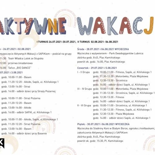 Rozkład zajęć wakacyjnych z SAPiK-iem